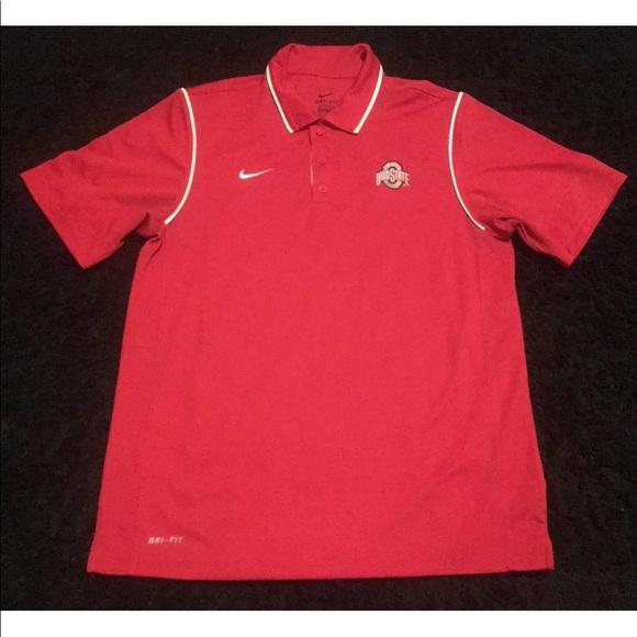 b34e8c2b Nike Shirts | Mens Ohio State Red White Drifit Polo M Euc | Poshmark